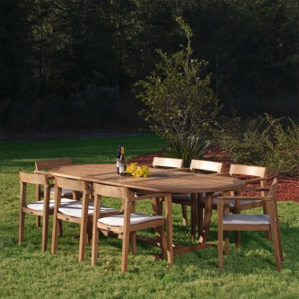 9 pc Montserrat Horizon Teak Dining Set