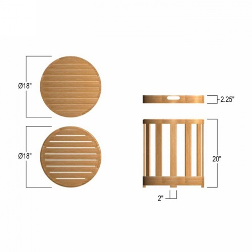small round teak side table sets