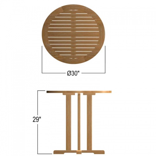 small round teak tables