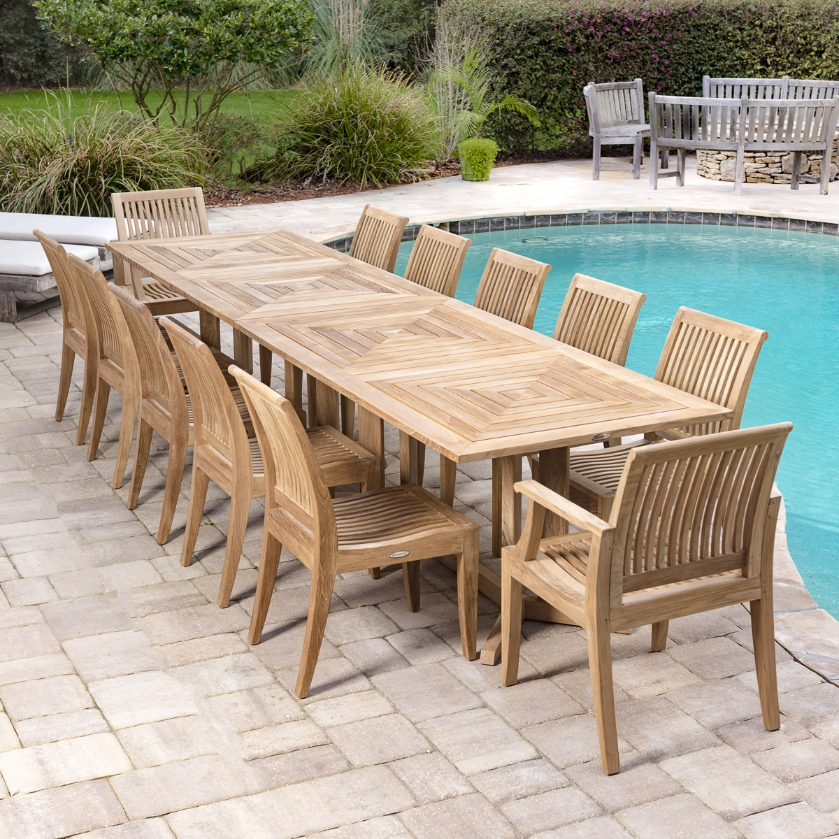 Teak dining set for 12 people westminster teak outdoor for Outdoor furniture quad cities