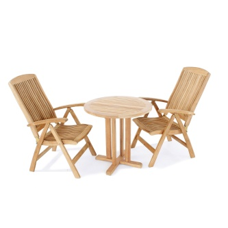 3 pc Reclining Teak Bistro Set
