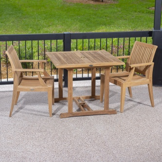 3 pc Square Laguna Teak Patio Dining Set