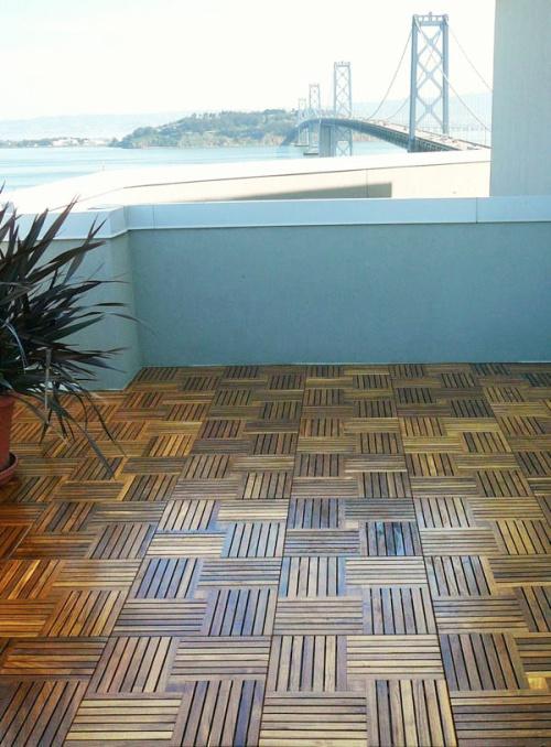 outdoor teak deck tiles