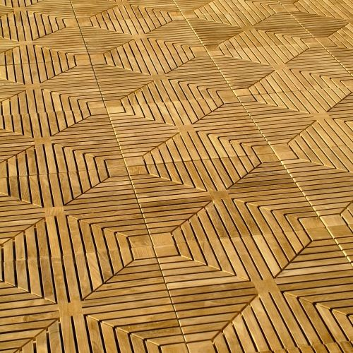 10 Cartons Diamond Teak Floor Tiles - Picture A