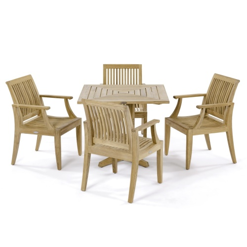 5 pc Laguna Pyramid Teak Dining Set - Picture A
