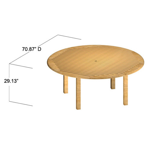 6 foot round teak tables