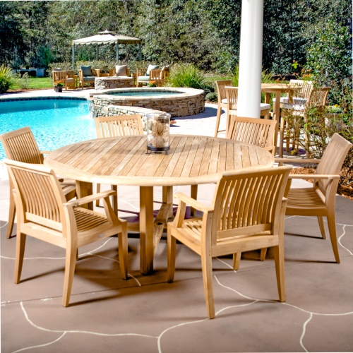7 pc Buckingham Laguna Teak Dining Set - Picture K