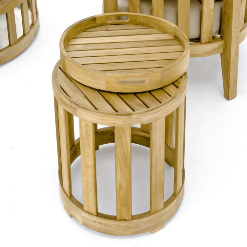 small round teak side tables