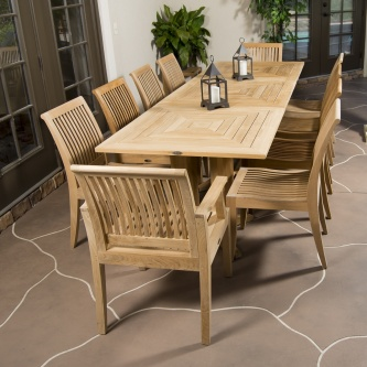 Pyramid Teak Dining Set for 10