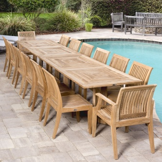 11pc To 17pc Large Teak Outdoor Dining Table And Chairs