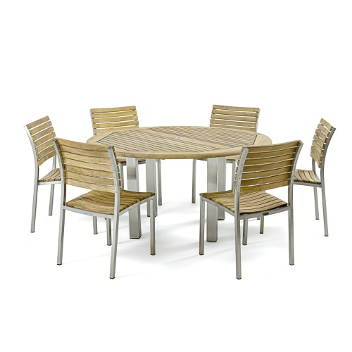 stainless steel and teak outdoor furniture