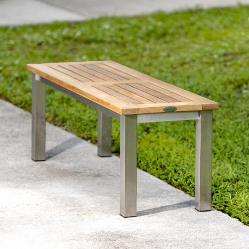 teak bench stainless steel
