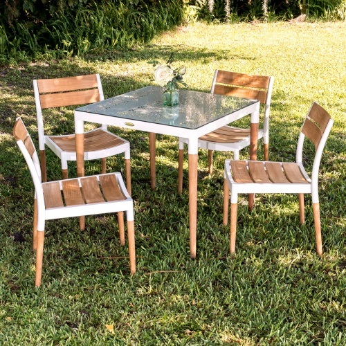 Bloom Glass Top Teak Patio Dining Set - Picture L