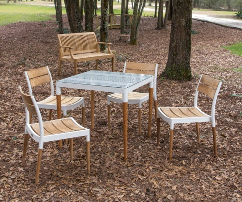 Bloom Glass Top Teak Patio Dining Set - Picture M