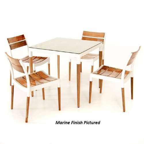 Bloom Glass Top Teak Patio Dining Set - Picture N
