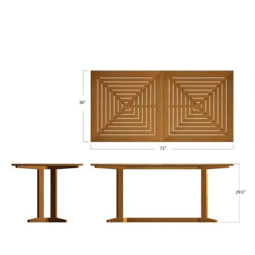 Horizon Pyramid Rectangular Teak Dining Set - Picture P