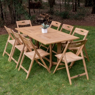 Surf Pyramid Teak Dining Set for 8
