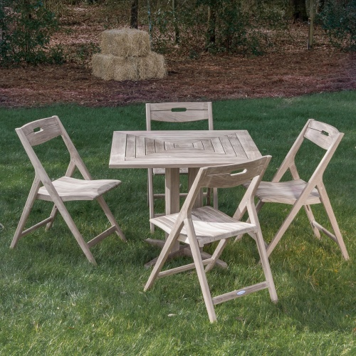Surf Pyramid Teak Square Dining Set for 4 - Picture K