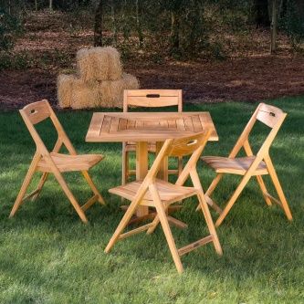 Surf Pyramid Teak Dining Set for 4