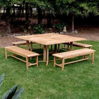 Pyramid Picnic Bench Teak Set