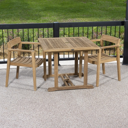 square teak outdoor table and 4 chairs