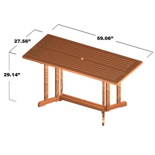 Surf 5pc Teak Folding Set - Picture M