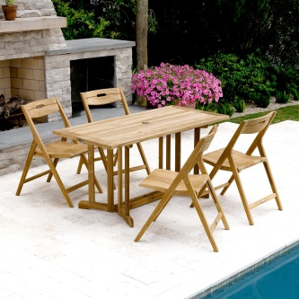 Surf Nevis Folding Teak Set for 4
