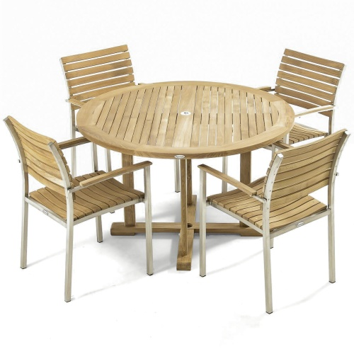 Vogue 4 ft Round Teak Dining Set - Picture A