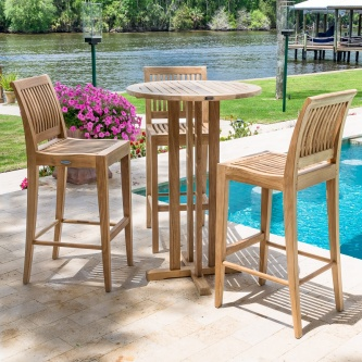 Laguna 4 pc Armless Teak Bar Set
