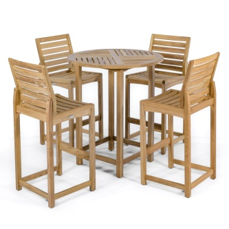 Somerset Side Barstool 5pc Teak Bar Set