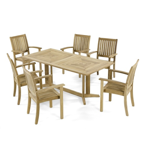 Sussex Pyramid Teak Dining Set for 6 - Picture A