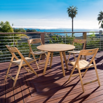 Surf Round Teak Dining Set for 4