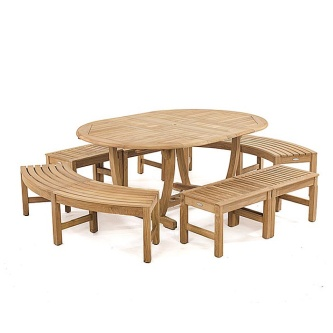 Martinique 7pc Bench Dining Set