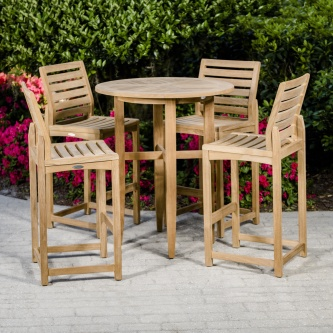5 pc Teak Bar Table Set