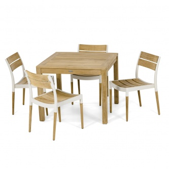 5pc Bloom Square Teak and Aluminum Dining Set