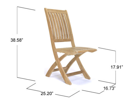 5pc Surf Rectangular Teak Dining Chair Set - Picture K