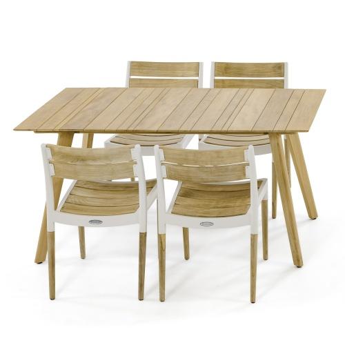 5pc Surf Rectangular Teak Side Chair Set - Picture A