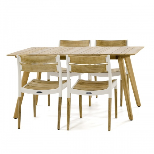 5pc Surf Rectangular Teak Side Chair Set - Picture D