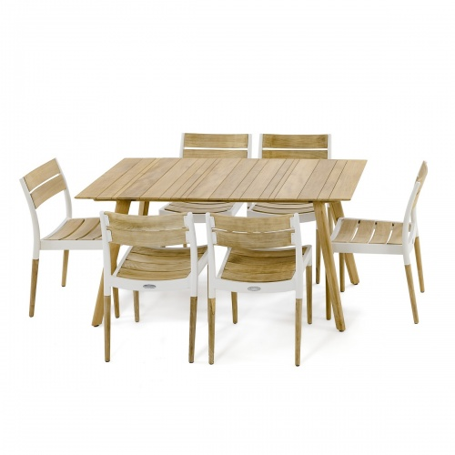 5pc Surf Rectangular Teak Dining Set - Picture M