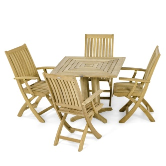 5pc Barbuda Pyramid Teak Dining Set