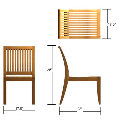 Vogue Laguna 5 pc Teak Side Chair Set - Picture K