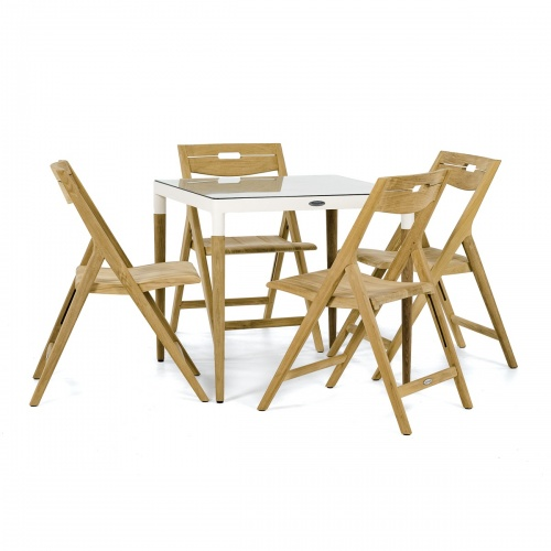 Bloom Square Surf Teak Folding Chair Set - Picture B