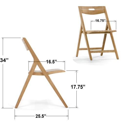 Bloom Square Surf Teak Folding Chair Set - Picture P
