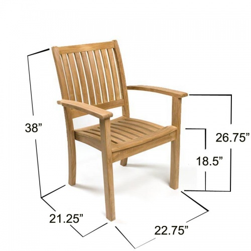 Bloom Square Sussex Teak Dining Chair Set - Picture K
