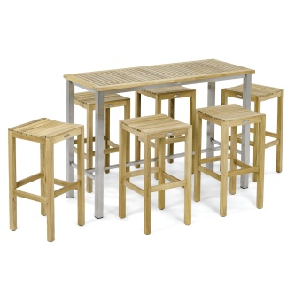 7 pc Backless Teak Bar Table and Stool Set