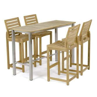 Rectangular Somerset Teak Pub Table and Stool Set