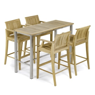 5 pc Laguna Teak Dining Barstool Set