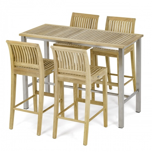 Rectangular Laguna Teak Side Barstool Set - Picture A