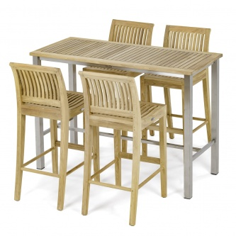 5 pc Laguna Teak Bar Table and Stool Set
