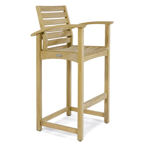 Square Somerset Teak Dining Barstool Set - Picture K